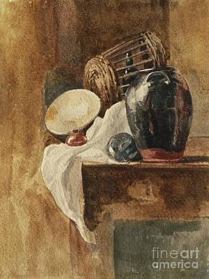 Still Life With Basket And Pitcher Poster by Peter De Wint