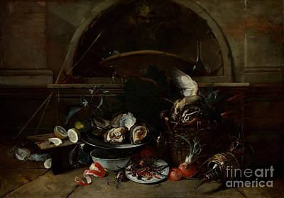 Still Life With Bottles And Oysters Poster by Celestial Images