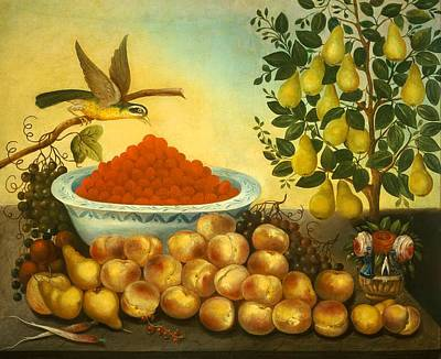 Still Life With Fruit Bird And Dwarf Pear Tree Poster by Mountain Dreams