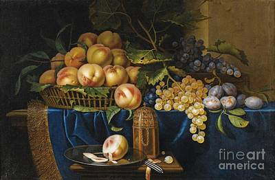 Still Life With Peaches Poster by Celestial Images