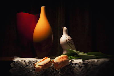 Still Life With Vases And Tulips Poster by Tom Mc Nemar