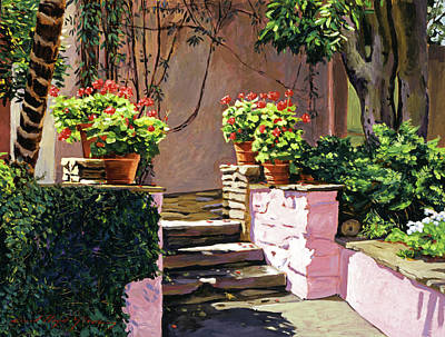 Stone Patio California Poster by David Lloyd Glover