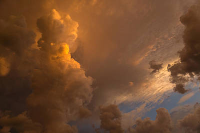 Storm Clouds Sunset - Dramatic Oranges Poster by Georgia Mizuleva