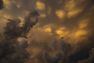 Storm Clouds Sunset - Ominous Grays And Yellows Poster by Georgia Mizuleva