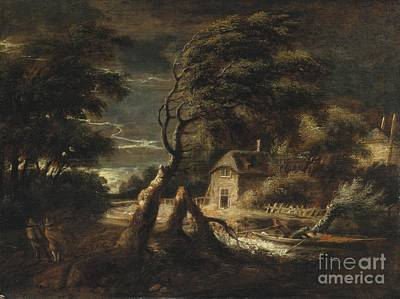 Stormy Landscape With A House And Figures In A Boat Poster by Celestial Images