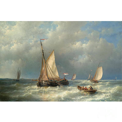 Stormy Sea With Ships Poster by Abraham