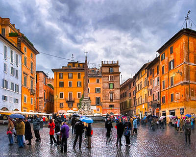 Stormy Skies Over A Roman Piazza Poster by Mark E Tisdale