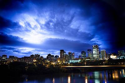 Stormy Skys Over Edmonton Poster by Ian MacDonald