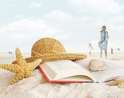 Straw Hat  Book And Seashells In The Sand Poster by Sandra Cunningham