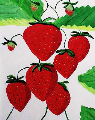 Poster featuring the painting Strawberries by Rodney Campbell