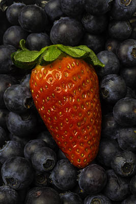 Sweetness Poster featuring the photograph Strawberry With Blueberries by Garry Gay