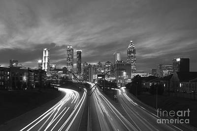 Streaking To And From Atlanta Night Lights Sunset 2 Poster by Reid Callaway