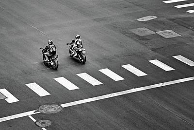 Street Scene - Motorcyclists Poster by Nikolyn McDonald