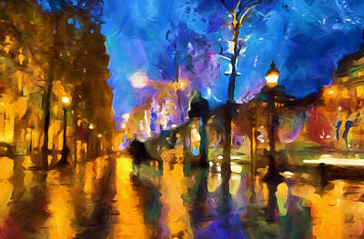 Streets Of Paris By Night Abstract Poster by Georgiana Romanovna