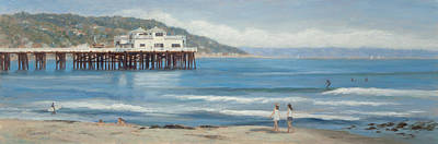 Strolling At The Malibu Pier Poster by Tina Obrien