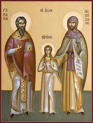 Sts Raphael Nicholas And Irene Poster by Julia Bridget Hayes
