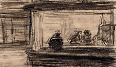 Study For Nighthawks Poster by Edward Hopper
