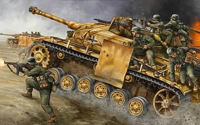 Stug G Platoon Tank Gbx25 - Flames Of War-236 Poster by Jovemini ART