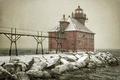Sturgeon Bay Pierhead Storm Poster by Joan Carroll
