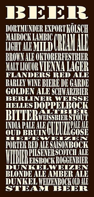 Styles Of Beer Poster by Trudy Clementine