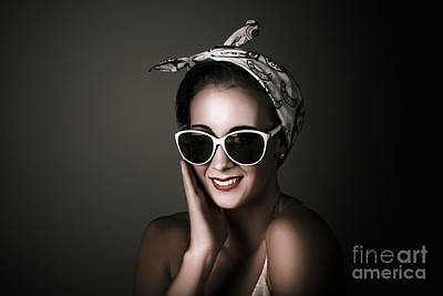 Stylish Retro Woman Wearing Fashion Sunglasses Poster by Jorgo Photography - Wall Art Gallery