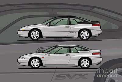 Subaru Alcyone Svx Duo Liquid Silver Poster by Monkey Crisis On Mars