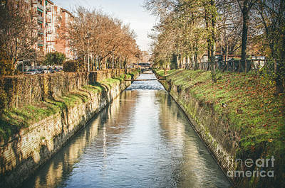 suburb river canal canvas Bologna Reno river print italy Poster by Luca Lorenzelli