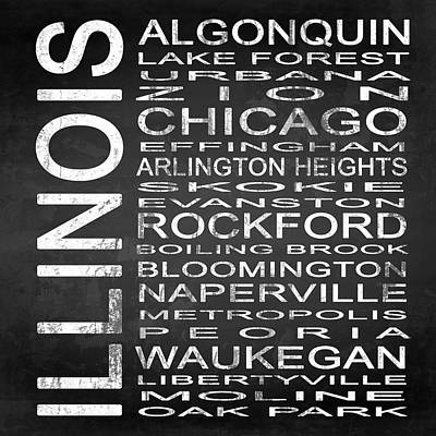 Subway Illinois State Square Poster by Melissa Smith