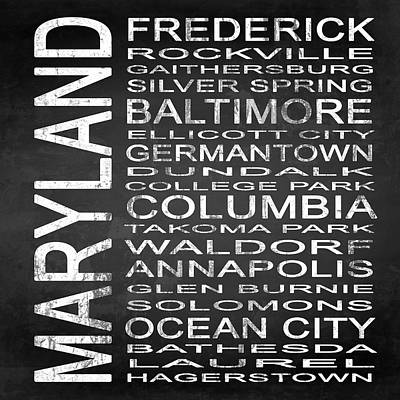 Subway Maryland State Square Poster by Melissa Smith