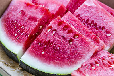 Sugar Baby Watermelon Slices Poster by Teri Virbickis