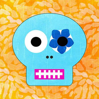 Sugar Skull Blue And Orange Poster by Linda Woods