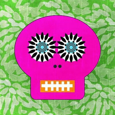 Sugar Skull Pink And Green Poster by Linda Woods
