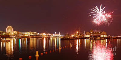 Summer Fireworks At The Navy Pier - Lake Michigan Chicago Illinois Poster by Silvio Ligutti