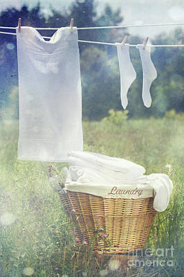 Summer Laundry Drying On Clothesline Poster by Sandra Cunningham