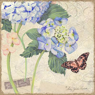 Summer Memories - Blue Hydrangea N Butterfly Poster by Audrey Jeanne Roberts