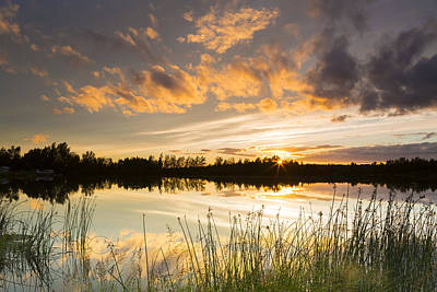Summer Sunset Over Six Mile Lake Poster by Michael DeYoung
