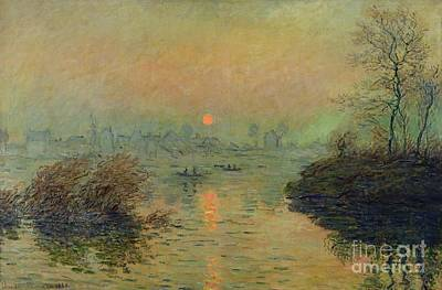Sun Setting Over The Seine At Lavacourt Poster by Claude Monet