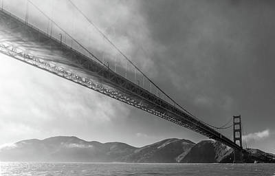 Sunbeams Through The Golden Gate Black And White Poster by Scott Campbell