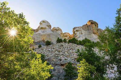 Sunburst And Mount Rushmore 1 Poster by AMB Fine Art Photography