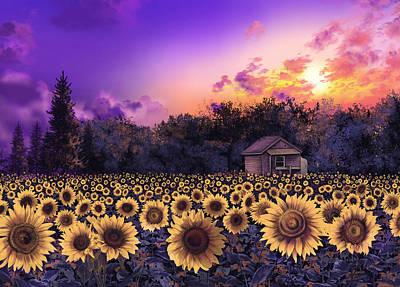 Sunflower Field Purple Poster by Bekim Art