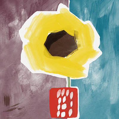 Sunflower In A Small Vase- Art By Linda Woods Poster by Linda Woods