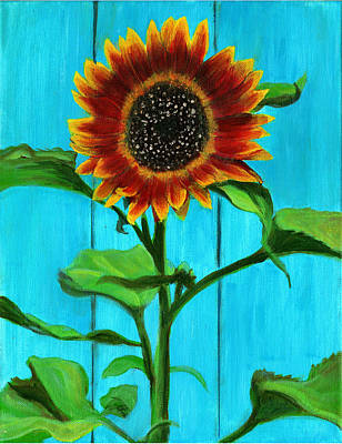 Sunflower On Blue Poster by Debbie Brown