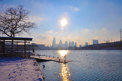Sunny Schuylkill River In Winter Poster by Bill Cannon