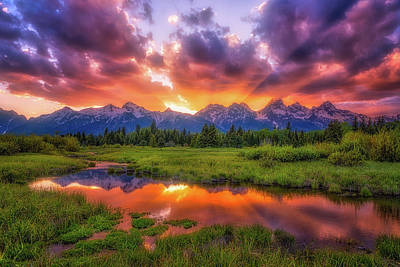 Sunrays Over The Tetons Poster by Darren White