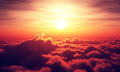 Sunrise Above The Clouds Poster by Johan Swanepoel
