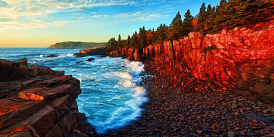 Sunrise At Acadia Panorama Poster by Bill Caldwell -        ABeautifulSky Photography