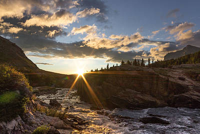 Sunrise // Swiftcurrent, Glacier National Park Poster by Nicholas Parker