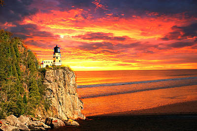 Sunrise Lighthouse Poster by Marty Koch
