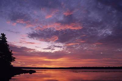 Sunrise Lights Up The Sky Over Cobscook Poster by Stephen Alvarez