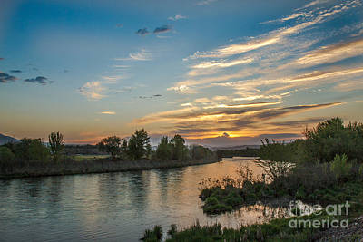 Sunrise Over The Payette River Poster by Robert Bales